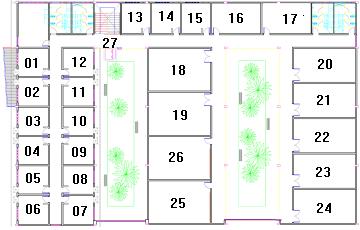 Imagem: Desenho da planta do pavimento superior do bloco 725.
